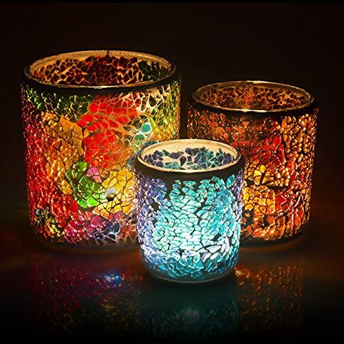 Larcenciel Teelichthalter Set, 3 Stück Mosaik Kerzenhalter Glas Kerzenständer Handgemacht Teelichtaufsatz Romantischer Kerzenleuchter Teelichter für Hochzeit, Party, Weihnachten, Geburtstag