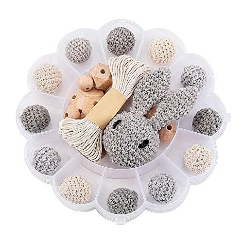 DIY Holzperlen Schnullerkette,Baby Spielzeug Zahnen,Und Kaninchen,Häkeln Hölzerne Korne,Holz-clips,Kinderkrankheiten Halskette(BLUMENKASTEN/GRAY)
