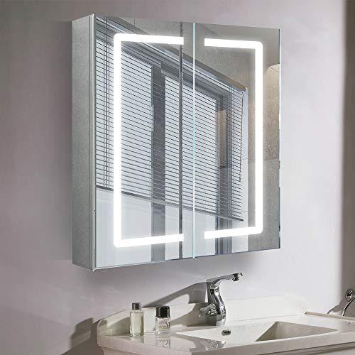 Qiyang 600 x 700 x 130 mm LED beleuchteter Badezimmerspiegelschrank mit Doppeltüren aus Edelstahl Wandspiegelschrank Medizinschrank mit Licht