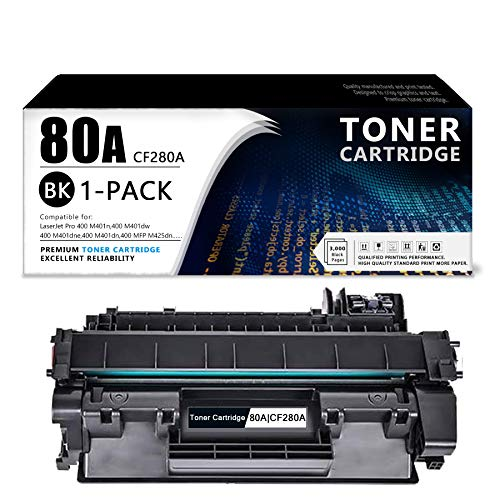 (1-Black) 80A   CF280A Toner Cartridge Compatible Replacementfor HP Laserjet Pro 400 M401n(CZ195A),M401dw(CF285A),M401dne(CF399A),M401dn(CF278A),Laserjet Pro 400 MFP M425dn(CF286A) Printer.