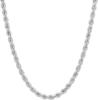 Unisex Sterling Silver 4MM Diamond-Cut Rope Chain Necklace