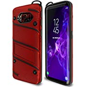 Samsung Galaxy S8 Case Military Grade 15ft. Drop Tested Protective Case with Kickstand,Shockproof,Dual Layer Heavy Duty, Compatible with Samsung Galaxy S8 - Red