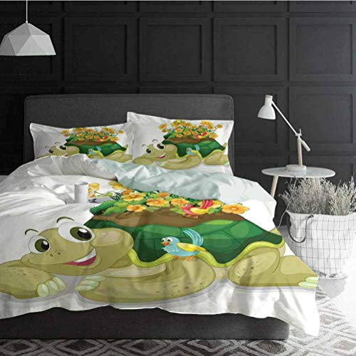 Bedding Duvet Cover Set Reptile Great Gift for Teens Kids Women Men Funny Floral Turtle Talking with Colorful Humming Birds Tortoise Ninja Home Decoration 3 Piece Bedding Set Full Size