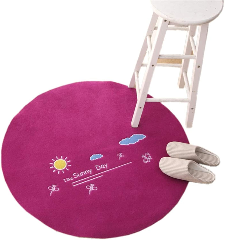 Round Anti-Slip Carpet Decorative Rug for Computer Chair Thicken Rug Wear-Resisting Plush Rug Runner for Living Room Bedroom-B diametro80cm(31inch)