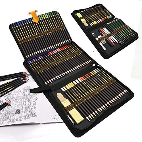 96 Stück Buntstifte Farbstifte Skizzieren Kunst Set,Professionell zeichnen zubehör set und federmäppchen groß,zeichnen bleistiftzeichnungen für Künstler Anfänger Schüler
