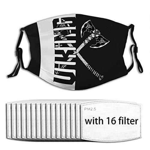 Nuberyl Viking Axt Schwarz Staubdicht Gesichtsmaske mit 16 Filtern Sturmhaube Bandana Schal Halstuch Halstuch Wiederverwendbare Unisex