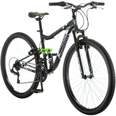 "Mongoose 27.5"" R4054WMC Ledge 2.1 Men's Bike for a Path, Trail & Mountains,Black, Aluminum Full Suspension Frame, Twist Shifters Through 21 Speeds"