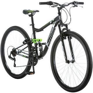 "Mongoose 27.5"" R4054WMC Ledge 2.1 Men's Bike for a Path, Trail & Mountains,Black, Aluminum Full Suspension Frame, Twist Shifters Through 21 Speeds"