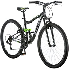 """21-speed twist shifters with Shimano rear derailleur Aluminum full-suspension mountain frame with front suspension fork Mongoose men's bike features front and rear linear pull brakes Alloy wheels and 3-piece crank Assembled dimensions: 68""""L x 25""""W x ..."""