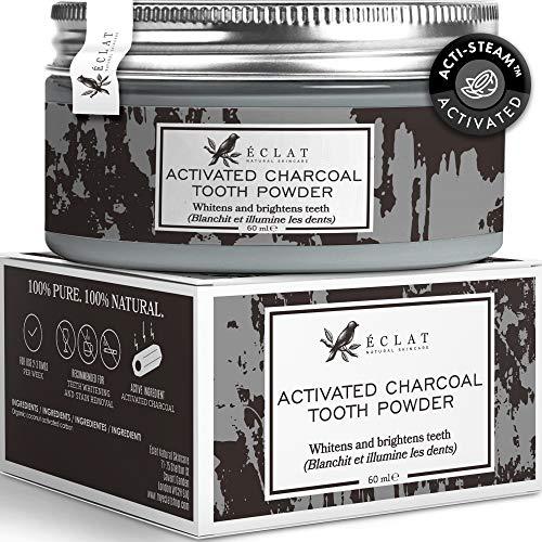 100% biologisches veganes Aktivkohlepulver zur Zahnaufhellung - Zahn Aufhellungspulver ohne Füllstoffe - Aktivkohle Zahnbleaching für weißere Zähne
