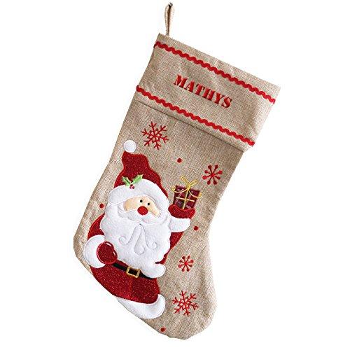 Personalisierte Weihnachtssocke Weihnachsmann aus Leinen
