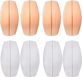 LEEQ - Cuscinetti in silicone per spalline del reggiseno, 8 pezzi, antiscivolo, sollievo dal dolore, colore: bianco e rosa...