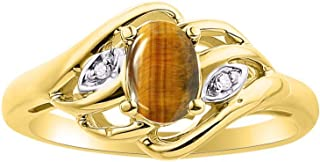 RYLOS Ladies Ring with Oval Shape Gemstone & Genuine Sparkling Diamonds in 14K Yellow Gold Plated Silver .925-6X4MM Color Stone Birthstone Rings