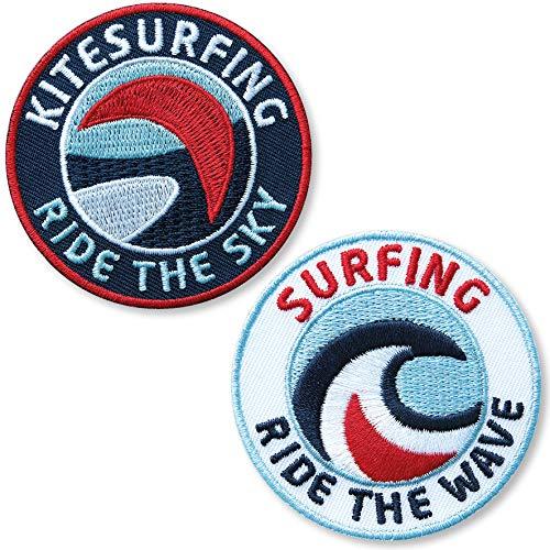 2er-Set Abzeichen gestickt 60 mm / Surfing und Kitesurfing / Aufnäher Aufbügler Flicken Sticker Patch Wellenreiten Surfen Surfbrett Surf-Board Kiting Kiteboard Kite-Surfen Wind-Surfen Wassersport