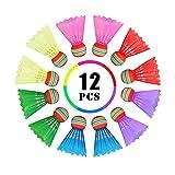 Volantes bádminton, Bádminton de Plástico Colorido, Badminton con Gran Elasticidad y Durabilidad, Bádminton Balls de Ejercicios Bola para Deportes al Aire Libre en Interiores (12Pcs)