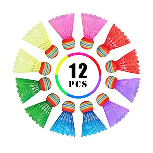 12 Stück Badminton Federbälle, Badminton Bälle Kunststoffbälle, Badminton Federbälle mit Hoher Stabilität und Haltbarkeit, Badminton Bälle für Indoor and Outdoor Training, Unterhaltung, Bewegung