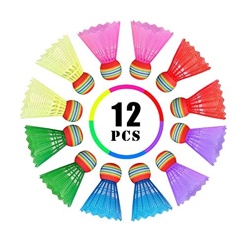 HOSPAOP Volani Badminton, Badminton Shuttlecock in Plastica, Badminton Palle con Durevole e Grande Elasticità, Badminton Palle per Interno, Esterno, Allenamento, Esercizio, Intrattenimento (12Pcs)