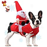 Relting Pet Christmas Costumes Santa Claus Riding on Dog Pet Outfits Winter Warm Apparel Party Dressing Up Clothing for Small Large Dogs and Cats (L)