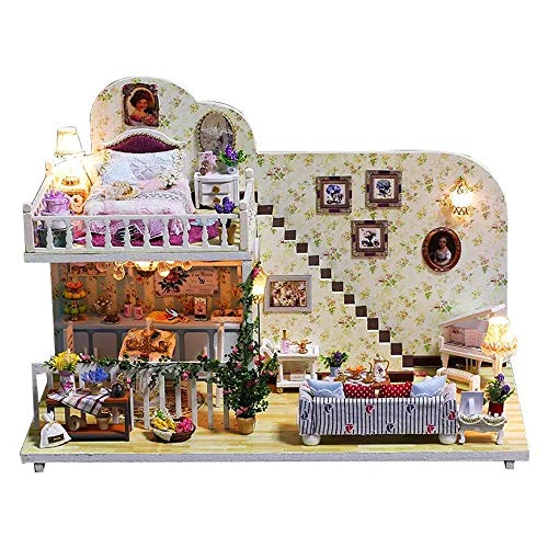 DIY-Huis Doll House 3D Amsterdam Village Cottage DIY Poppenhuis Met Furniture Light Cover Gift House Toys Gifts Educational Toy (Color : Multi-colored, Size : One size)