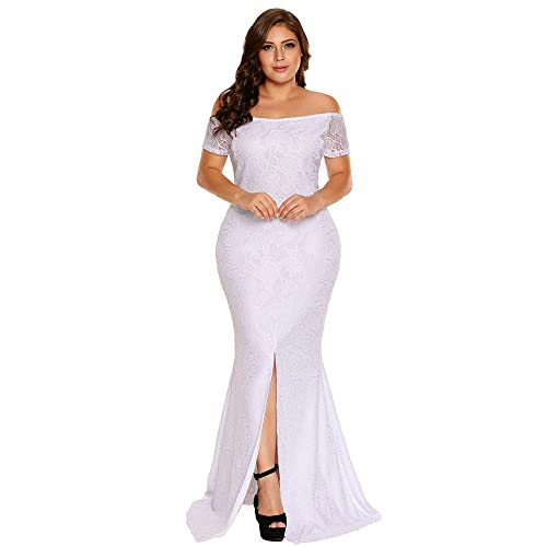6587aaf669aae FUSENFENG Women s Plus Size Evening Gowns Lace Off Shoulder Wedding Party  Long Maxi Dress
