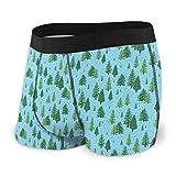 zengdou Herren Unterwäsche,Herren-Boxershorts Men's Breathable Underwear Winter Forest Trees Pattern A Woodland Comfortable Boxer Briefs