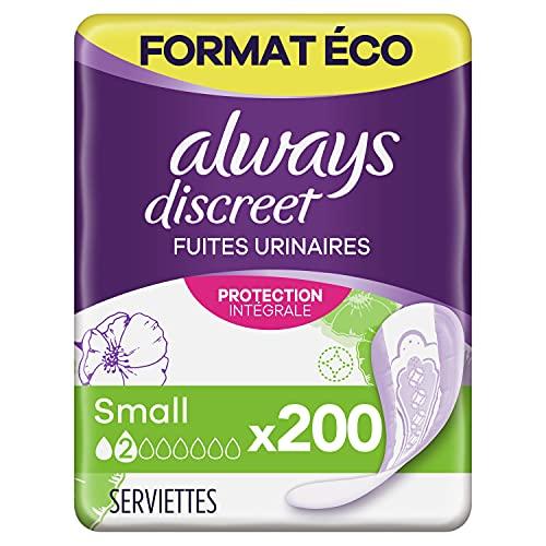 Always Discreet, Serviettes Hygiéniques Small pour Incontinence, Format Eco x200 (4 packs de 50 unités)