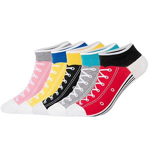 KONY Women's 5 Pack Lightweight Cotton (86%) Novelty Low Cut Socks Cool Sneakers Ankle Socks Fun Gifts Idea Size 6-10