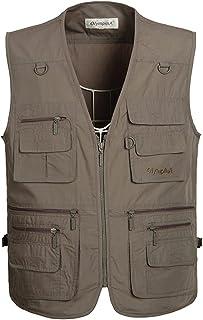 Mens Outdoor Casual Vest, Hwalleum mannen Zomer Lichtgewicht Multi-pockets Vest Mannen Ademend Sneldrogende Multifunctione...