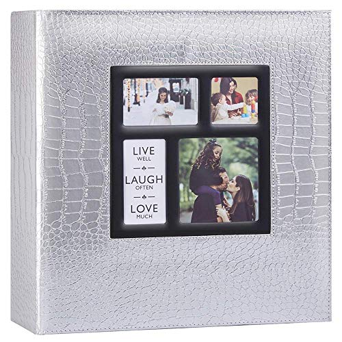 Artmag Photo Picutre Album 4x6 1000 Photos, Extra Large Capacity Leather Cover Wedding Family Photo Albums Holds Horizontal and Vertical Photos (Silver)