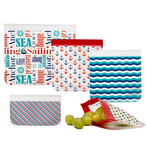 Reusable Storage Bags (5 Pack) Sandwich and Snack Bags Set are Eco Friendly, Leakproof Storage Containers- Kids Lunch, Travel, Makeup Baggies, with Easy Open and Close Zipper Tops- Nautical