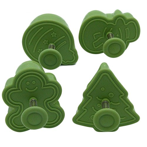 Christmas Themed Cookie Cutter Set By Garloy(4 Pack),Cute Cookies Cake Topper Sugar Craft Chocolate Decorating Plunger Cutter Mold,Spring-loaded Handle, Food Safe Plastic(Colors May Vary)