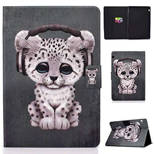 HülleFun Huawei MediaPad T5 10 Hülle Hülle PU Leder Tasche Magnetisch Schutzhülle Flip Cover mit Standfunktion, Leopard