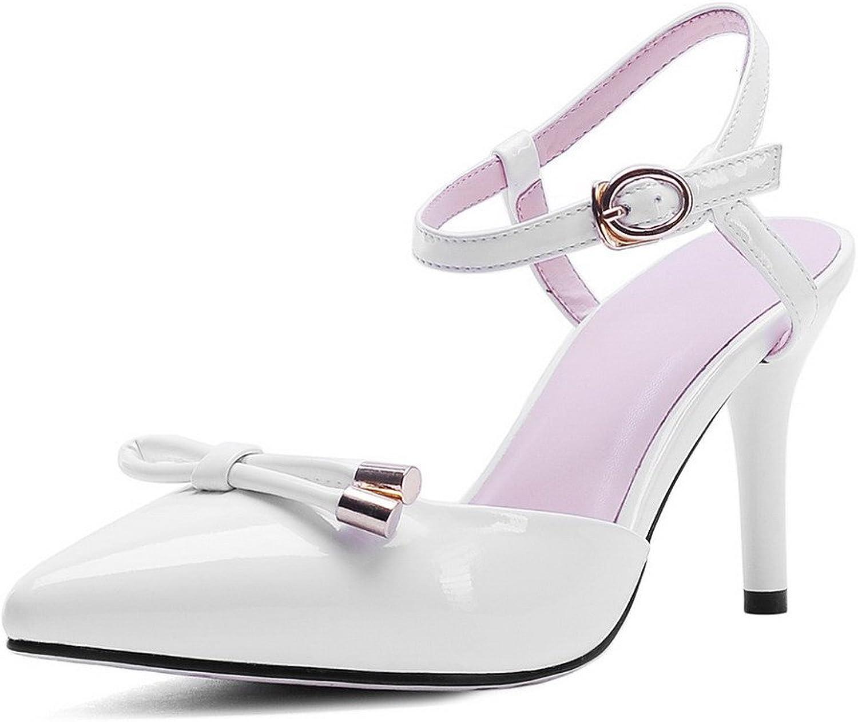 AmoonyFashion Women's Solid PU High-Heels Closed Toe Buckle Sandals