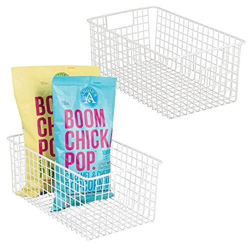mDesign 2er-Set Allzweckkorb – tiefer Aufbewahrungskorb aus Metalldraht – kompakter Drahtkorb mit Griffen – universelle Gitterbox für Küche, Bad und andere Räume – mattweiß