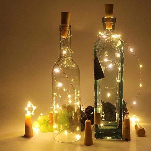 20 Stück Flaschenlicht Weinflaschen Lichter Kork Weihnachten Flasche Dekoration 200cm 20LEDs Lichterkette DIY Batteriebetrieben Stimmungslichter für Weihnachtsdeko Garten Party Schlafzimmer Tischdeko