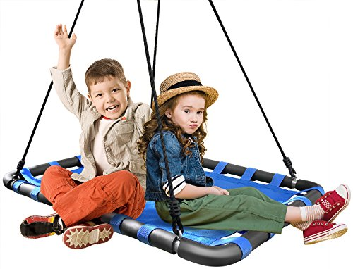 Sorbus Spinner Platform Swing – Kids Indoor/Outdoor Rectangular Mat Swing – Great for Tree, Swing Set, Backyard, Playground, Playroom – Accessories Included (40 x 30, Square Blue)
