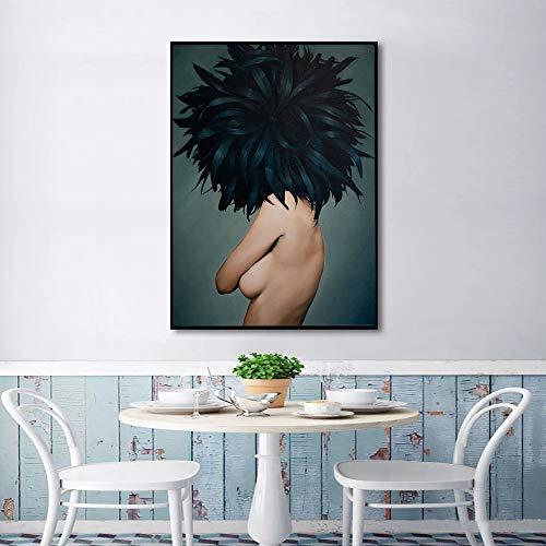 SADHAF Feather Nordic Frauen Wandkunst Leinwand Malerei Druck Poster Wand Wohnzimmer Bild Home Decoration A5 60x90cm