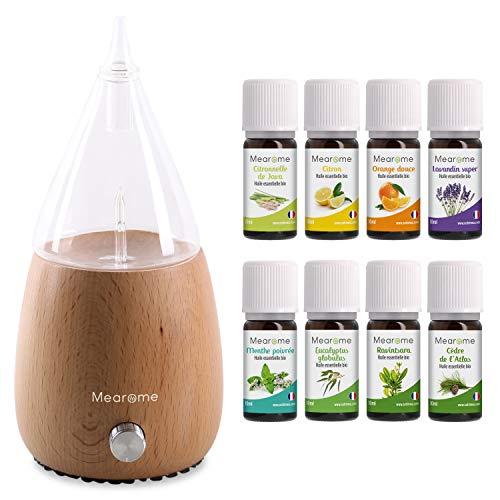 DIFFUSEUR nébuliseur + 8x10 ml HUILES ESSENTIELLES BIO - Coffret kit pour cuisine, aromathérapie - diffuseur, verre et bois - 8 flacons de 10 ml d'huiles essentielles 100% pures et naturelles