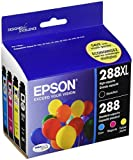 Epson T288XL-BCS Black High Capacity and Color Standard Capacity Ink Cartridges, C/M/Y/K 4-Pack