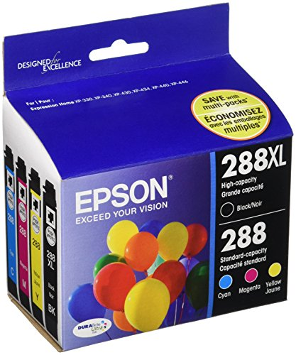 Epson T288XL-BCS zwarte inktcartridges met hoge capaciteit en standaard kleurcapaciteit, C/M/Y/K 4-pack