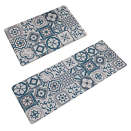 Kitchen Mat Rug 2 PCS Set Cushioned Anti-Fatigue,Waterproof Non-Slip Mats PVC Ergonomic Comfort for Kitchen,Floor Home,Office,Sink,Laundry,Grey Green Lattice 17.729.5+17.747.2 in
