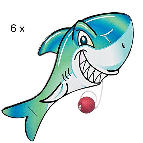 Elfen und Zwerge 6 x Hai Paddleball Ballspiel Shark Spiel Kindergeburtstag Piratenparty Sommerparty Piraten Meerjungfrauen Mitgebsel Party