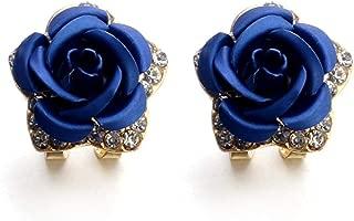 Earrings Studs for Women, Staron Fashion Bohemia Rose Flower Crystal Rhinestone Earrings Elegant Eardrop Jewelry (Blue❤️)