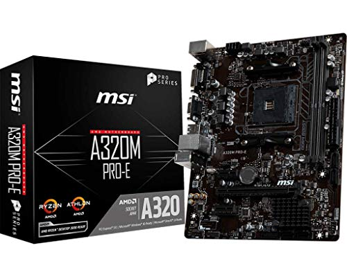 MSI A320M Pro-E - Placa Base (Chipset AMD A320, DDR4 Boost, Realtek LAN, Audio Boost, VGA, VR Ready, Click BIOS 5, soporta AMD pocesadores) color negro