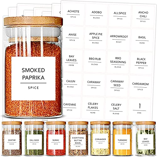 Talented Kitchen 184 Spice Jar Labels Preprinted. 184 Minimalist Black Text on Square White Label, Water Resistant Spice Labels Sticker. Seasoning, Herb & Spice Rack Organization (184 Square Spices)