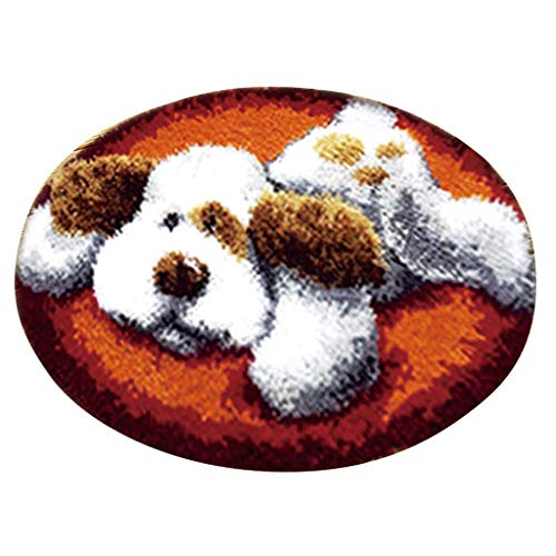 Baosity Latch Hook Kits Christmas Dog Cat Bear Ladybug Santa Claus Rug Latch Hooking Kits - Dog
