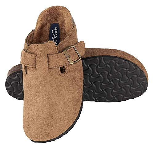 Seranoma Women's Micro Suede Plush Lined Cork Clog | Soft Furry Footbed Slipper | Antislip Comfortable Sole Brown