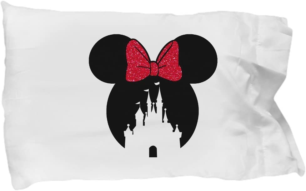 Castle Los Angeles Mall Pillowcase Gift Mouse Ears Bow Magic Pillow Case Red It is very popular