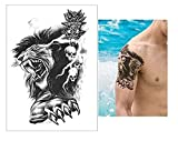 Transferencia Temporal Tatuajes Falsos Tatuajes de Moda León Flash Impermeable Arte Corporal Hombres Mujeres Partido Volver Hombro Negro Accesorios de Calcomanía 15X21 CM 4 Unids