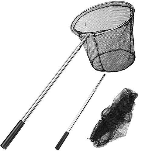 EXTSUD Kescher Angeln, Teleskop-Kescher 180cm, Unterfangskescher Angelkescher mit Faltbare Fischernetz, Angelzubehör für Erwachsene und Kinder | MEHRWEG